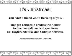 Sample December Gift Certificate